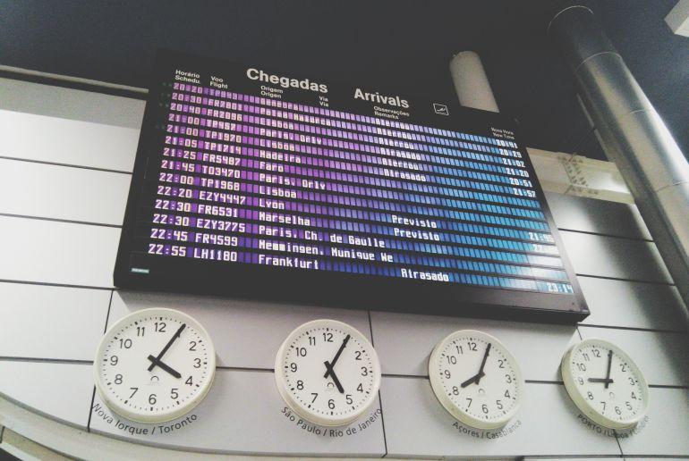 Weltuhren am Flughafen