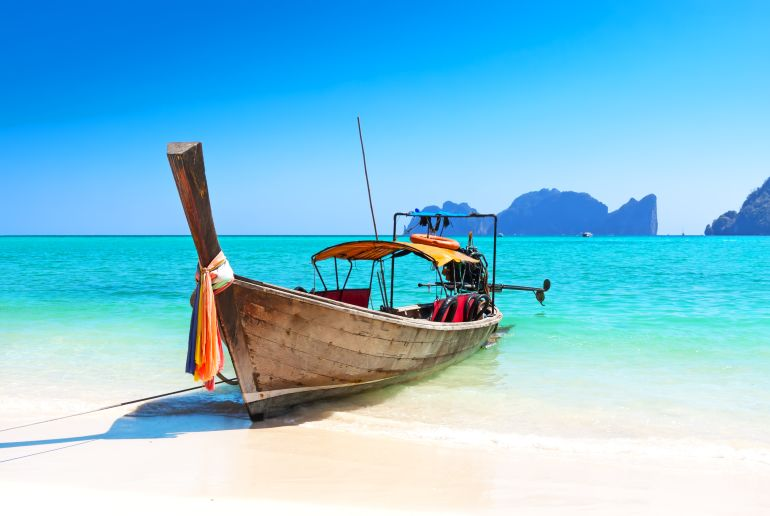 Boot am Strand in Thailand