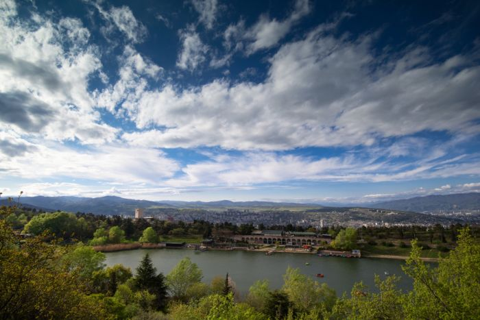 Tbilisi, Georgia. Visit Turtle Lake and head to the mountains for a meal