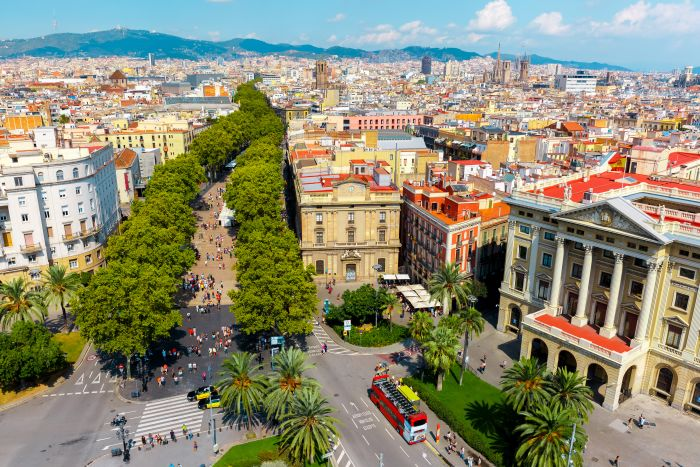 Barcelona, Spain. Feast your eyes on the changing colours of the local vineyards