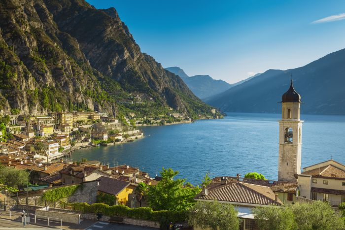 Riva del Garda, Italy. Enjoy kayaking on the lake and great local food by the water