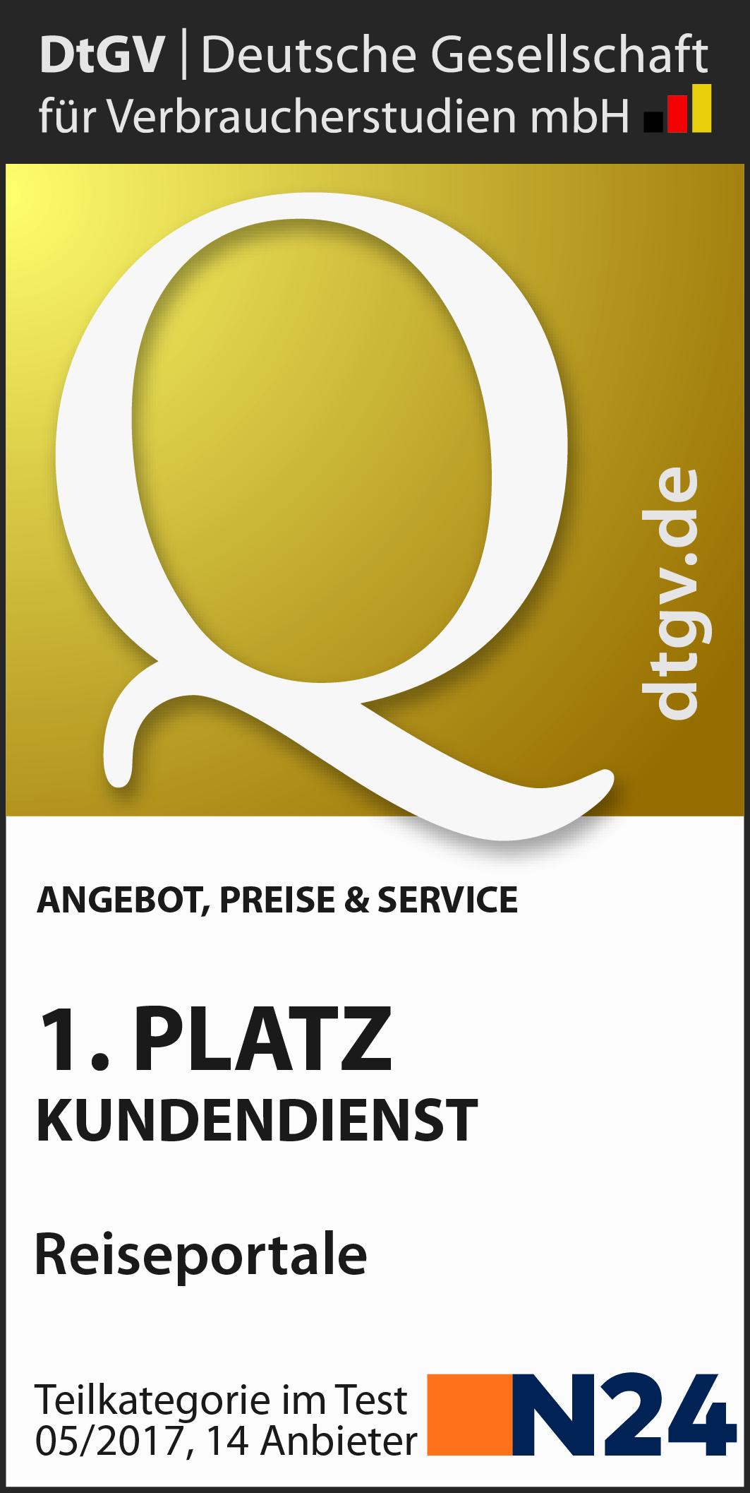 lastminute.de ist Testsieger im Bereich Kundendienst & erreicht den 2. Platz (1,3 sehr gut) unter allen 14 getesteten Reisportalen