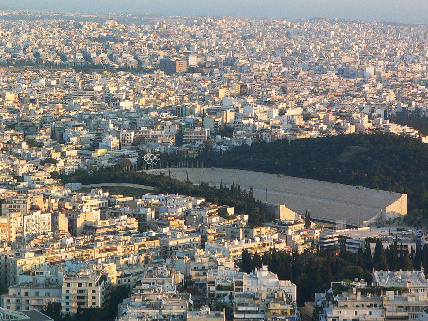 Lo stadio Panathinaiko dalla collina del Licabetto