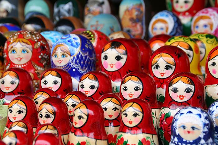 Moscú en invierno: Matrioskas en mercadillo