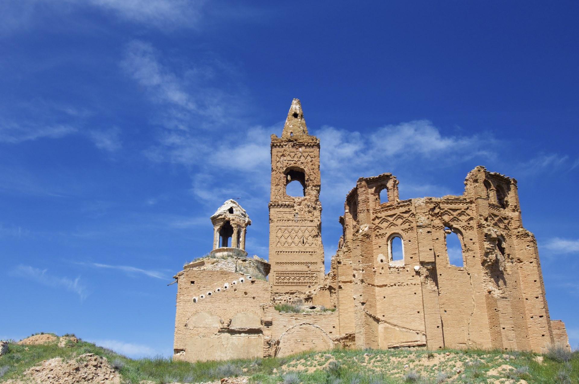 church demolished in Belchite, Spain