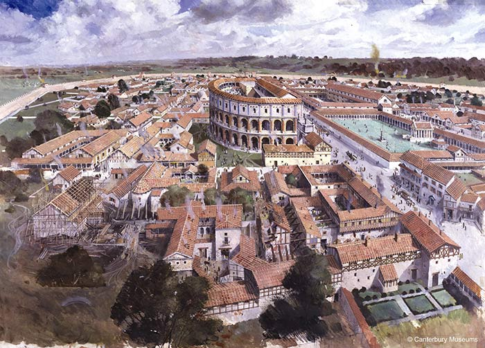 Impression of what Canterbury would have been like in Roman. Visit Canterbury