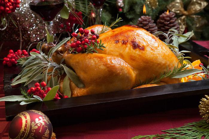 Comida típica navidad pavo asado