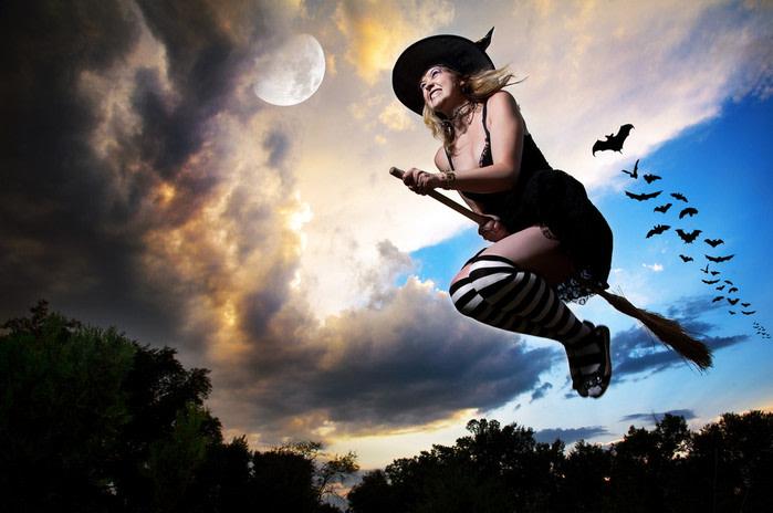 halloween bruja volando
