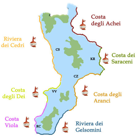 Mappa delle Coste della Calabria