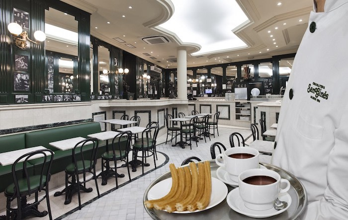 What to do in Madrid: Chocolate con churros. Photo: Chocolateriasangines.com.