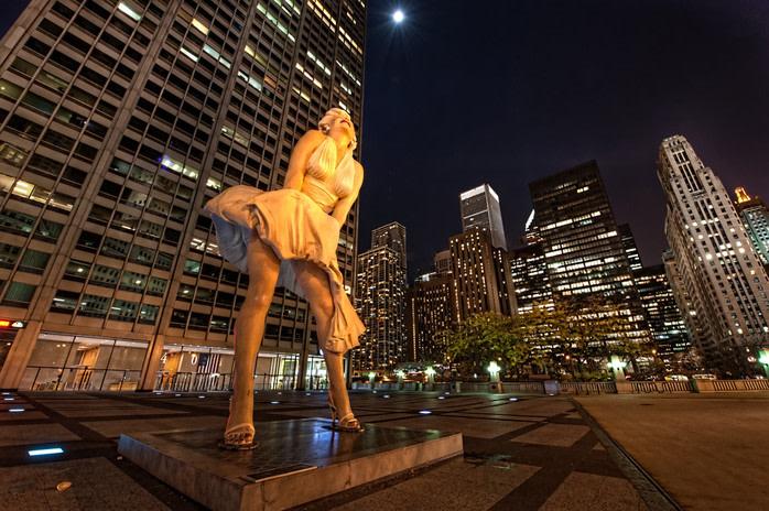 lugares de película: estatua de Marilyn Monroe