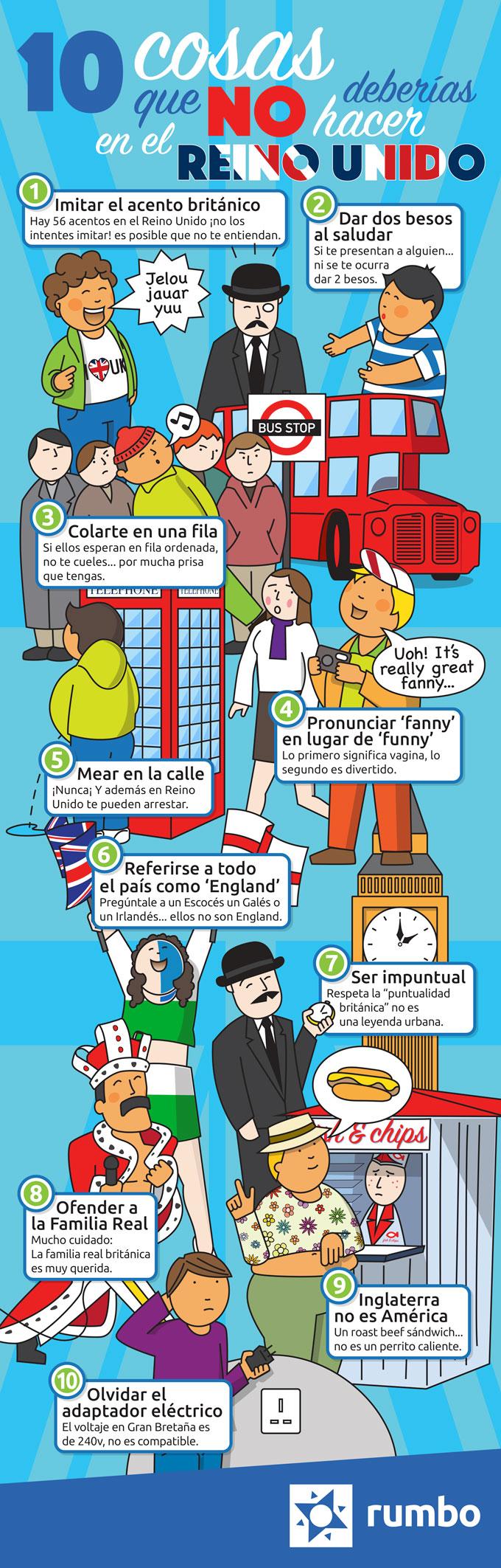 10 cosas que no deberías hacer en el Reino Unido