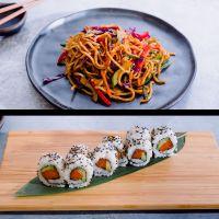 Menú 2: Yakisoba + Sake Roll