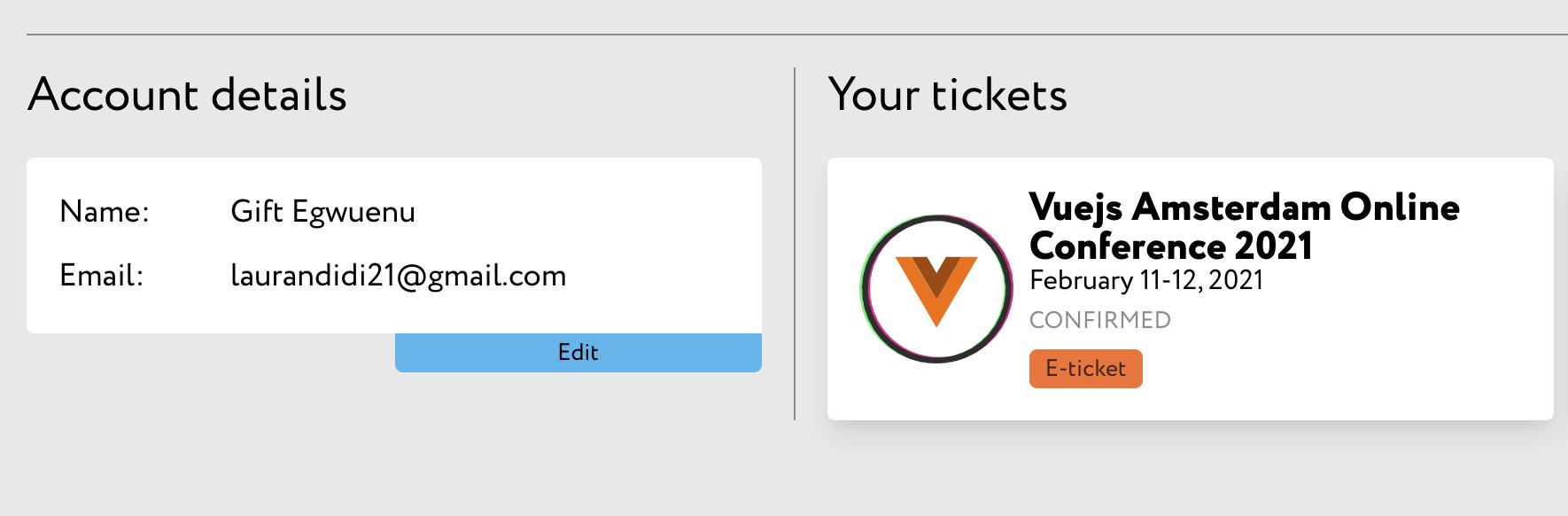 Vuejs amsterdam 2021 ticket