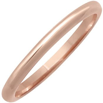 14K Rose Gold Dome Plain Unisex Comfort Fit Band (1.5mm)