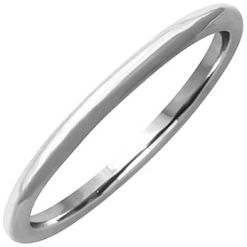 14K White Gold Dome Plain Unisex Comfort Fit Band (1.5mm)