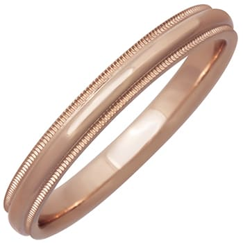 14K Rose Gold Milgrain Plain Unisex Comfort Fit Band (3mm)