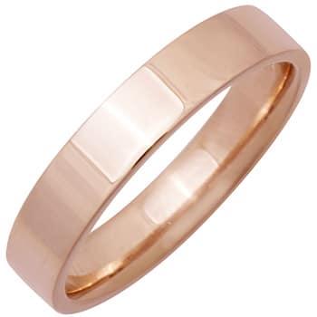 14K Rose Gold Top Flat Plain Unisex Comfort Fit Band (4mm)