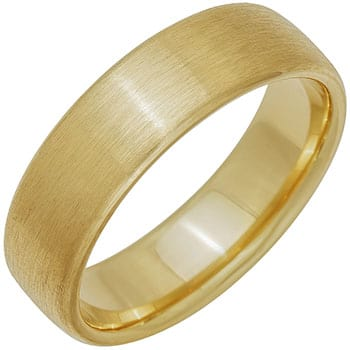 14k Yellow Gold Brushed Dome Plain Comfort-fit Wedding Bands (6mm)