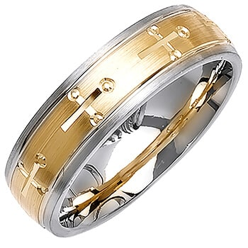 14K Two Tone Gold Christian Religious Unisex Comfort Fit Band (6mm)