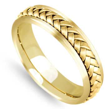 14K Yellow Gold Wicker Braid Unisex Comfort Fit Band (5.5mm)