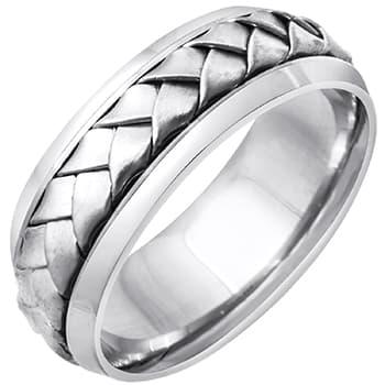 18k White Gold Satin Basket Braid Beveled-edge Comfort-fit Wedding Bands (7mm)