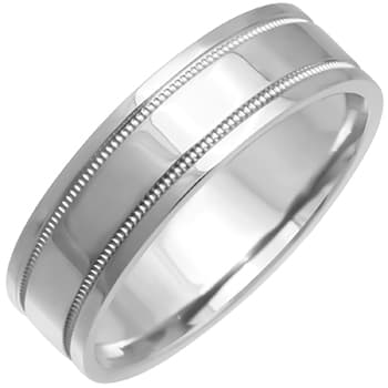 14K White Gold Top Flat Plain Unisex Comfort Fit Band (6.5mm)