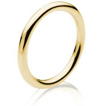 18K Yellow Gold Dome Plain Unisex Comfort Fit Band (1.5mm)