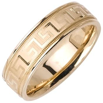 14K Yellow Gold Greek Key Unique Unisex Comfort Fit Band (6.5mm)