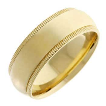 14K Yellow Gold Milgrain Plain Unisex Comfort Fit Band (8mm)