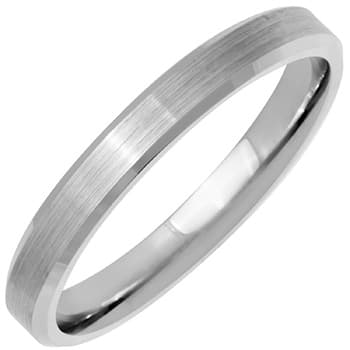 14K White Gold  Unique Unisex Comfort Fit Beveled Band (4mm)
