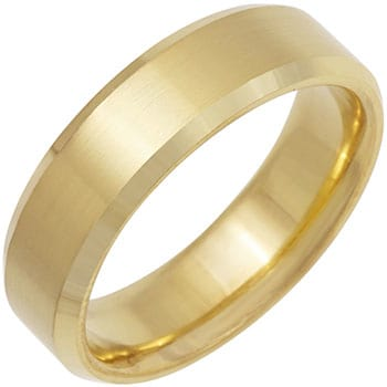 18K Yellow Gold Top Flat Plain Unisex Comfort Fit Beveled Band (6mm)