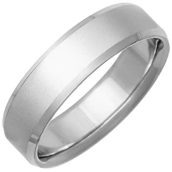 14K White Gold Top Flat Plain Unisex Comfort Fit Beveled Band (6mm)