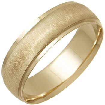 14K Yellow Gold Dome Plain Unisex Comfort Fit Band (6.5mm)