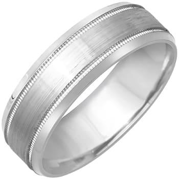 14k White Gold Brushed Plain-dome Design Beveled-edge Comfort-fit Wedding Bands (7mm)