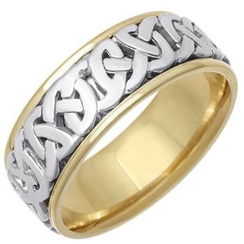 14K Two Tone Gold Love Knot Celtic Unisex Comfort Fit Band (8.5mm)