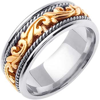 14K Two Tone Gold Paisley Floral Unisex Comfort Fit Band (9mm)