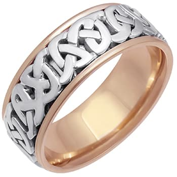 18K Two Tone Gold Love Knot Celtic Unisex Comfort Fit Band (7mm)
