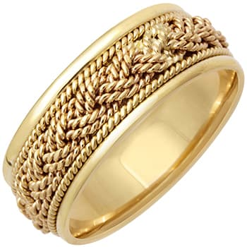 14K Yellow Gold French Braid Men's Comfort Fit Band (9mm)