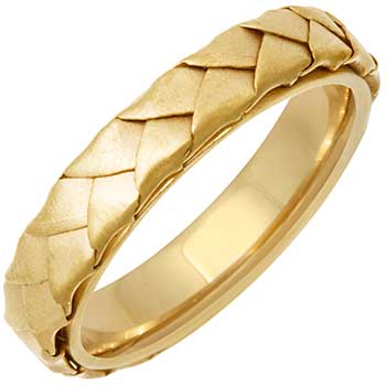 14K Yellow Gold Basket Braid Unisex Comfort Fit Band (5mm)
