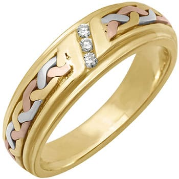 .09ct TCW  White Diamonds 14K Tri Color Gold French Braid Women's Comfort Fit Ring (6mm)