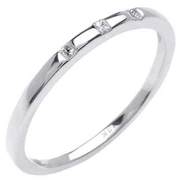 .06ct TCW  White Diamonds 14K White Gold Three stone Diamond Women's Comfort Fit Ring (1.5mm)