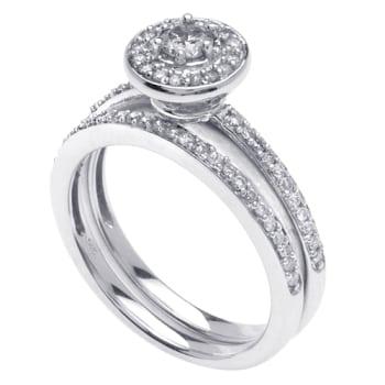.85ct TCW  White Diamonds 14K White Gold  Bridal   Matching Set  of Engagement Ring and Band