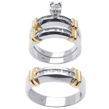 125ct TCW 14K Two Tone Gold Trio Ring Set 9002682 Shop at