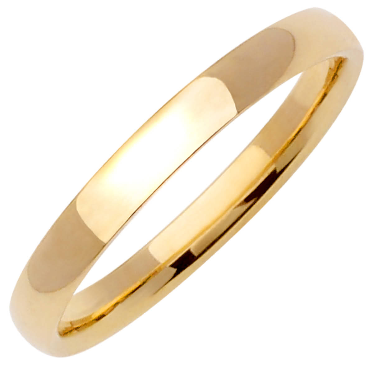 14K Yellow Gold Dome Plain Unisex Comfort Fit Band (3mm)