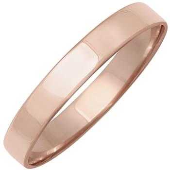 18k Rose Gold Top-flat Plain Comfort-fit Wedding Bands (3mm)