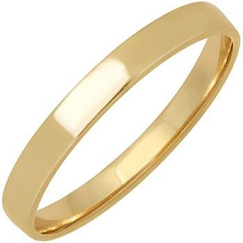 14k Yellow Gold Top-flat Plain Comfort-fit Wedding Bands (3mm)