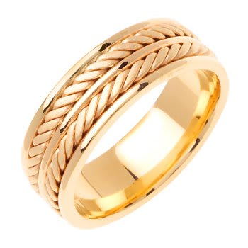 14K Yellow Gold Rope Braid Unisex Comfort Fit Band (7.5mm)