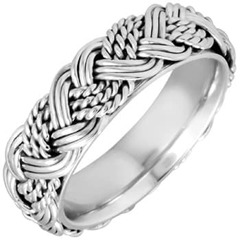 14k White Gold French Braid Comfort-fit Wedding Bands (6mm)