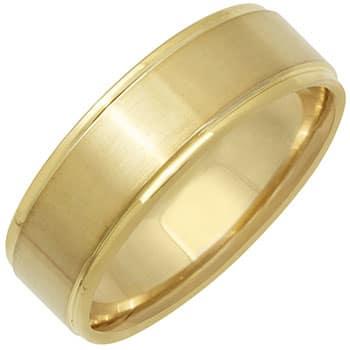 14k Yellow Gold Satin Plain-dome Design Comfort-fit Wedding Bands (7mm)